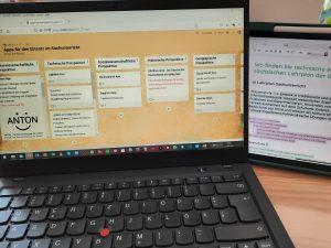 """BIdlausschnitt Desktop und Tastatur mit Blick auf digitales Tool """"Padlet"""""""