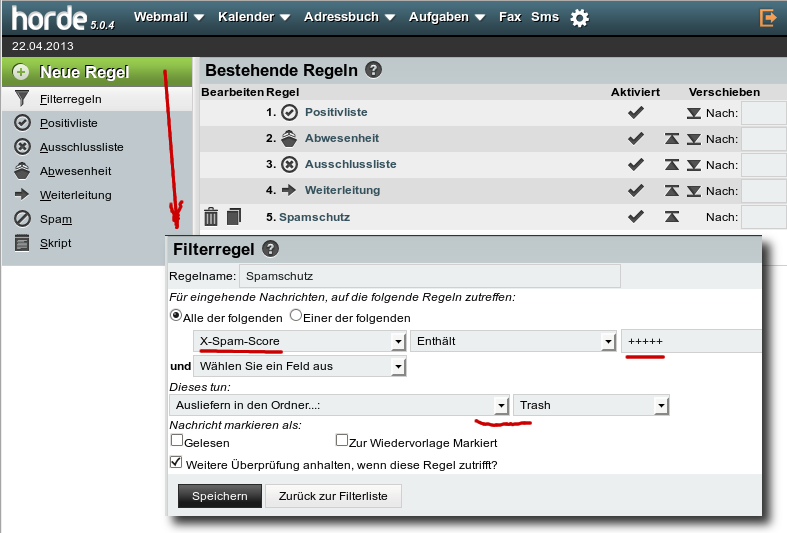Webmail Filter