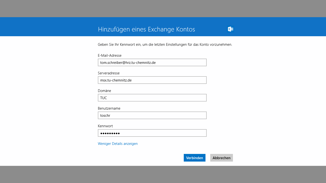 Exchange-Kontoinformationen eintragen