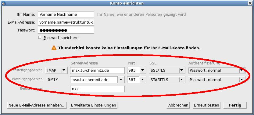 MSX-Servereinstellungen