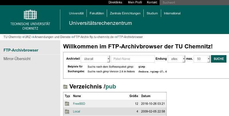 Screenshot Suchformular Paketsuche