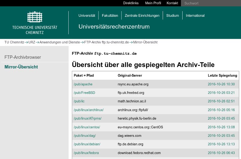 Screenshot der Archivübersicht