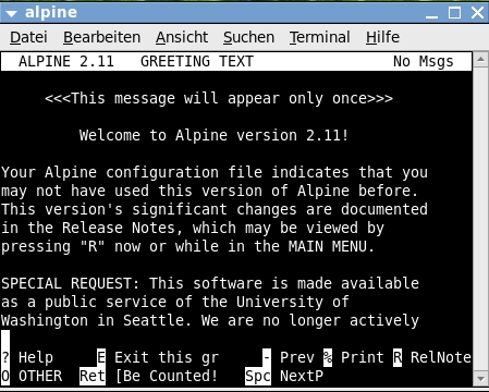 Alpine Screenshot Anmeldung