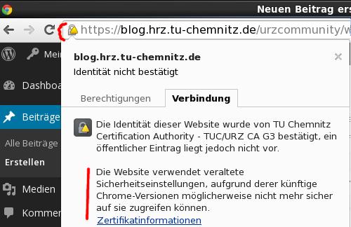 Google Chrome: Warnung bei SHA-1-Zertifikaten