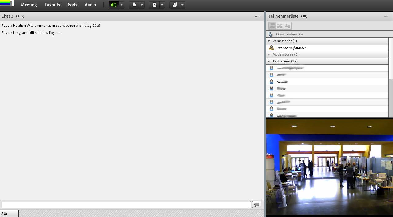 Übertragung der Pausenveranstaltungen mit Live-Chat