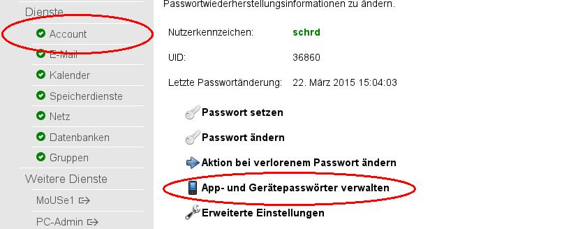 Account-Modul im IdM-Portal