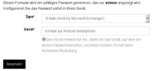 Screenshot App- und Gerätepasswort anlegen