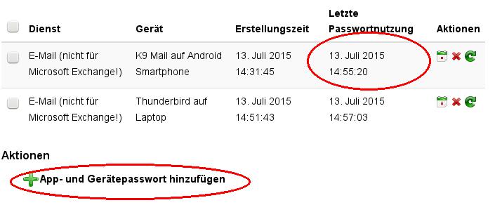 Screenshot Übersicht über App- und Gerätepasswörter.