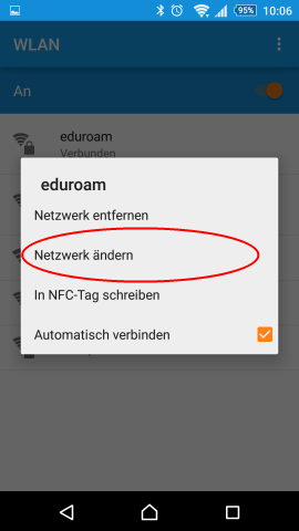 Screenshot Android Systemeinstellungen WLAN