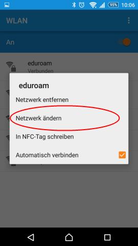 Screenshot Android Systemeinstellungen WLAN