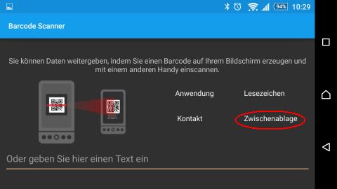 Screenshot Android App Barcodescanner