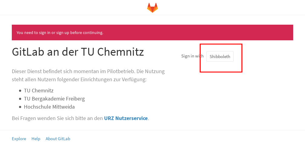 Screenshot Loginbildschirm