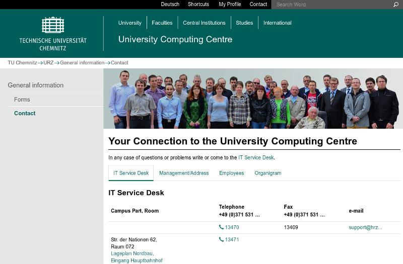 Screenshot der englischen Kontaktseite des URZ