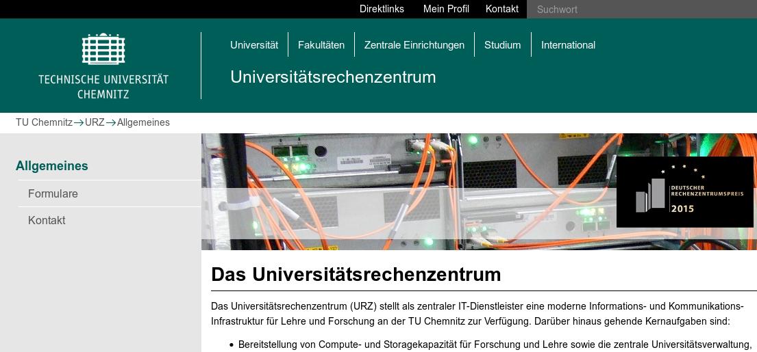 Screenshot der URZ-Beispielwebseite, weniger Menüpunkte