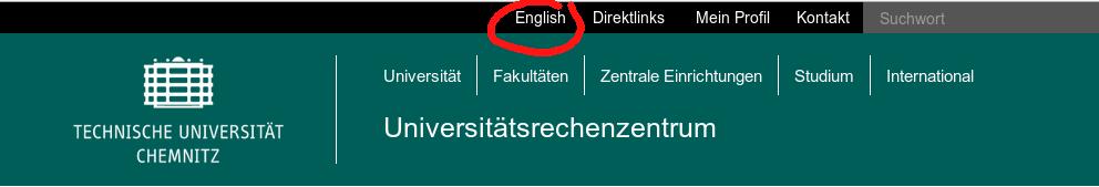 Screenshotausschnitt Sprachumschalter