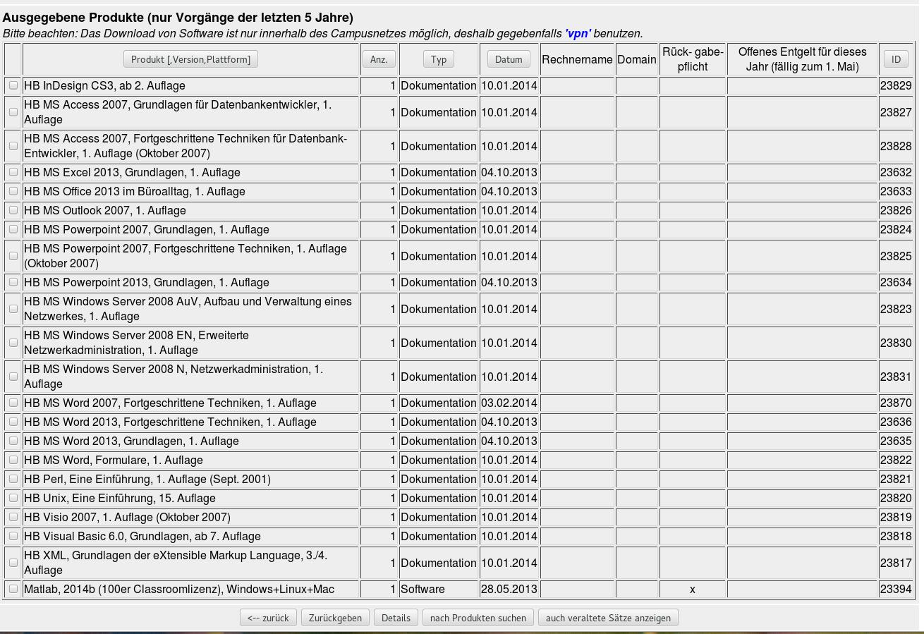 Ausschnitt aus der Softwaredatenbank