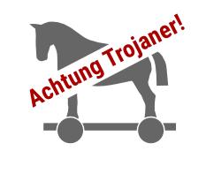 trojanisches Pferd mit Warnung