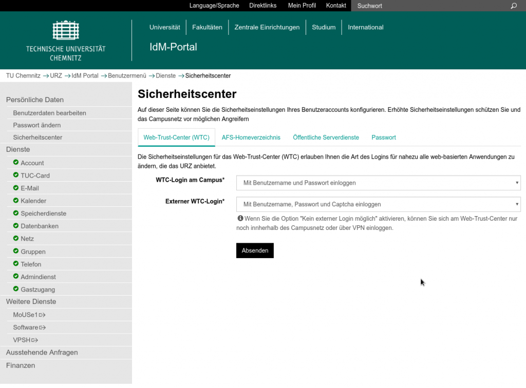 Screenshot Sicherheitscenter