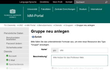 """Screenshot des IdM-Portals mit der Seite """"Gruppe neu anlegen"""""""