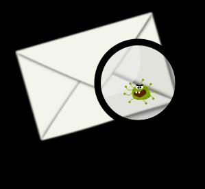 Umschlag mit Lupe und kleinem Virus