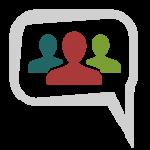 Grafik mit drei Personen