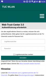Anmeldung am Web-Trust-Center. Nutzen Sie Ihr Nutzerkennzeichen und URZ-Passwort.