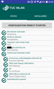 Alle Details der Konfiguration werden auf dem Statusbildschirm angezeigt.