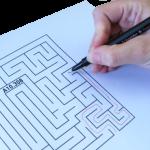 Labyrinth mit rotem Lösungspfad