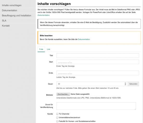 Screenshot für das Vorschlagen von Inhalten im indiSign