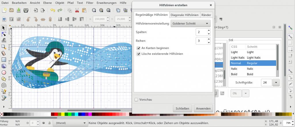 Screenshot Arbeit mit Inkscape