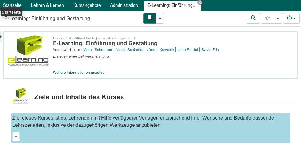 Screenshot zum Kurs E-Learning: Einführung und Gestaltung