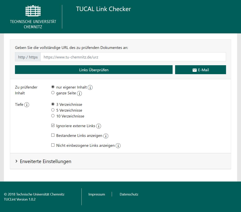 Screenshot der Webseite des TUCAL Link Checkers