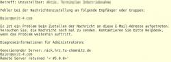 Inhalt einer Fehler-E-Mail
