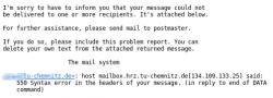 Fehlertext einer nicht zustellbaren E-Mail