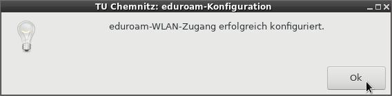 Ansicht des eduroam-Konfigurationsprogramms unter Linux nach erfolgter Konfiguration