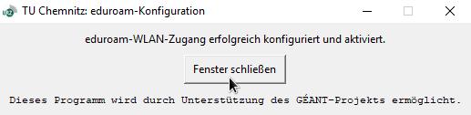 Ansicht des eduroam-Konfigurationsprogramms unter Windows nach erfolgter Konfiguration
