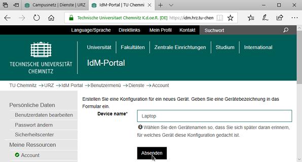 Browser mit IdM-Portal-Ansicht