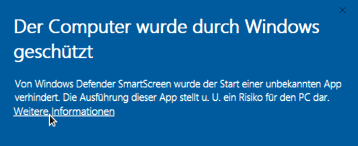 Warnung des Windows Defenders zur eduroam_TUC.exe