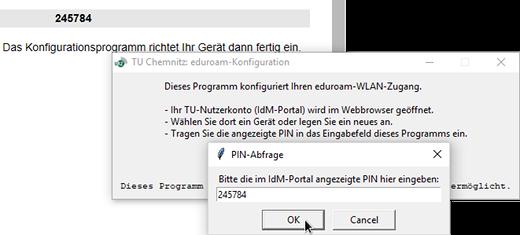PIN-Eingabefenster während der eduroam-Konfiguration unter Windows