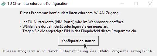 Initiales Programmfenster des eduroam-Konfigurationswerkzeugs