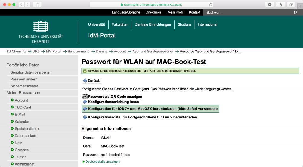 IdM-Portal geöffnet im Safari-Browser