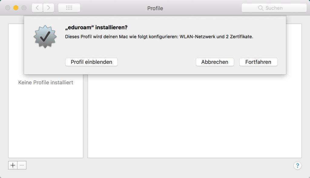 eduroam-Konfiguration unter MacOS einlesen