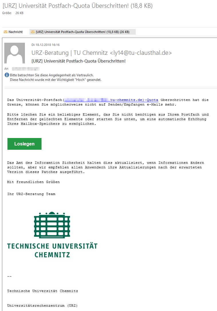 Eine Phishing-E-Mail in Outlook