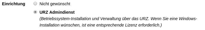 """Auswahl der Option """"URZ Admindienst"""""""