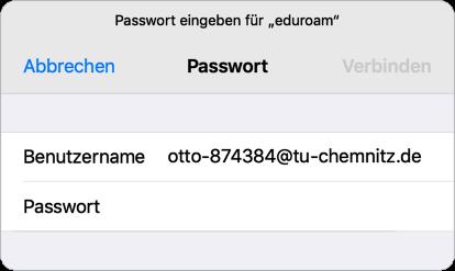 """Dialogbox: Passwort eingeben für """"eduroam"""""""