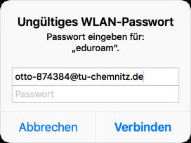 Dialogbox: Ungültiges WLAN-Passwort