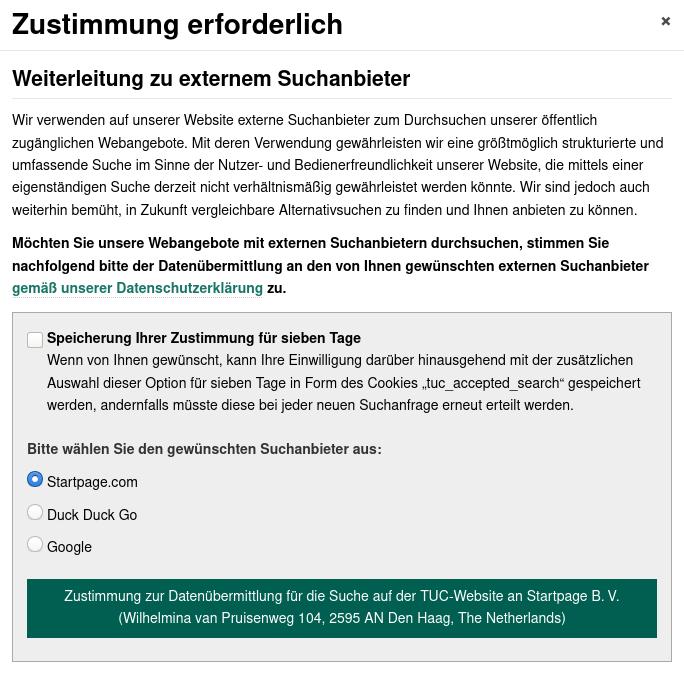 Bildschirmfoto der Vorschaltseite für die Zustimmung zur Weiterleitung
