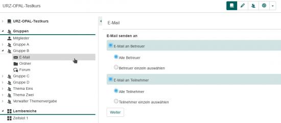 E-Mail-Werkzeug in OPAL-Gruppe
