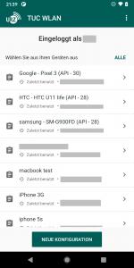 Screenshot Liste der Geräte