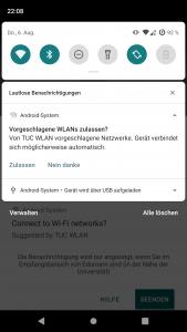 Screenshot der Android-Benachrichtigung zur Bestätigung der WLAN-Verbindung mit Android 10.